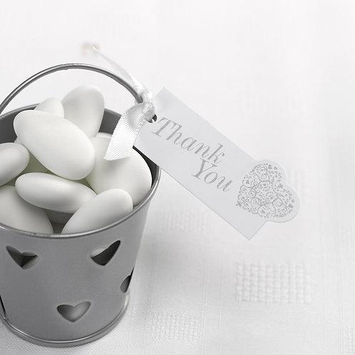 Vintage Romance - Thank You Luggage Tags - White/Silver