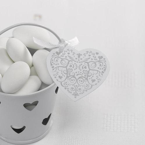 Vintage Romance - Heart Tags - White/Silver