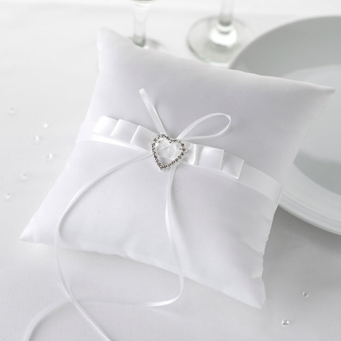 White Heart Ring Cushion