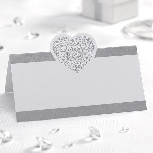 Vintage Romance - Place Card - White/Silver