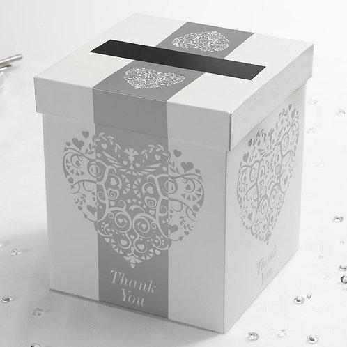 Vintage Romance Post Box - White/Silver