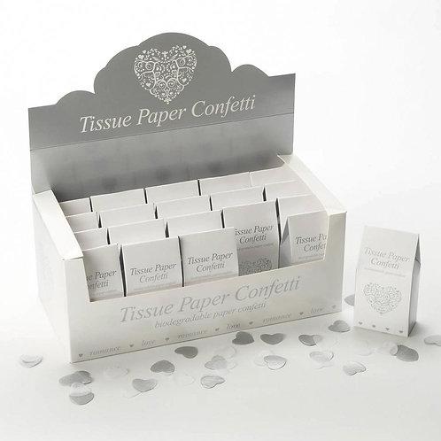 Vintage Romance Tissue Paper Confetti - White & Silver