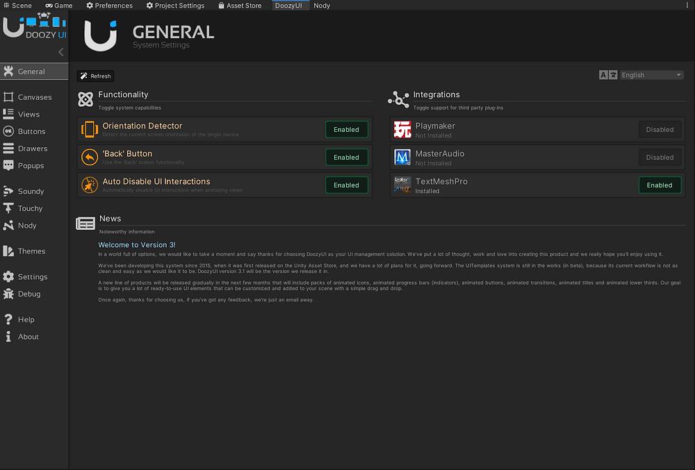 Doozy UI Control Panel