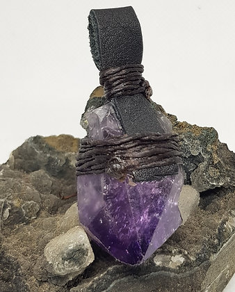 Amethyst Point and Leather Necklace 2