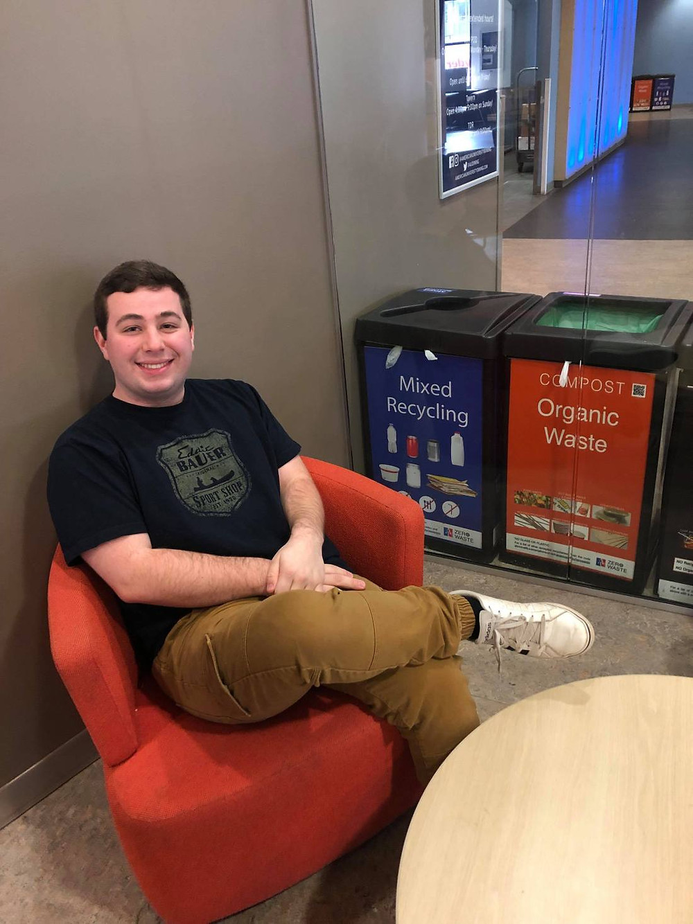 First-year student, Conner Shipp, becomes co-president of the four-year-old club, AU Student Zero Waste, before even declaring a major. (Photo by Katya Podkovyroff Lewis)
