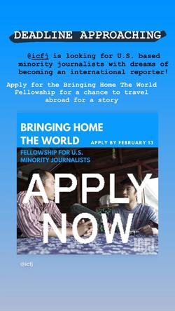 ICFJ Bringing Home The World Opp.