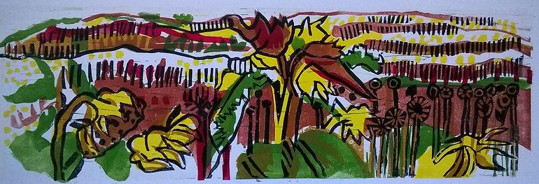 1.Sunflower Fields Linoprint 2018 14x41.