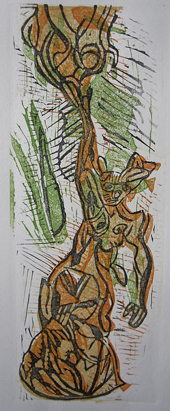 1.Self becoming Tree Linoprint 2019 42x1