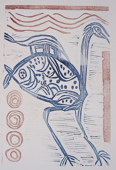 2.Mythical Bird Linoprint 2019 31x21.JPG