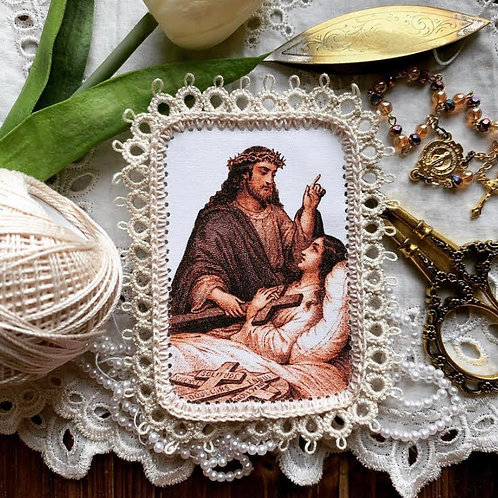 Cross of Sickness fabric holy card detente