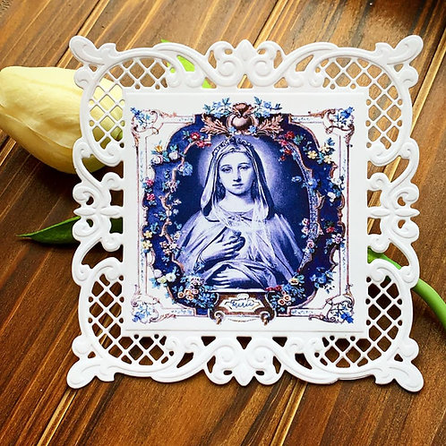 Blue Immaculate Heart Floral Square Lace Holy Card
