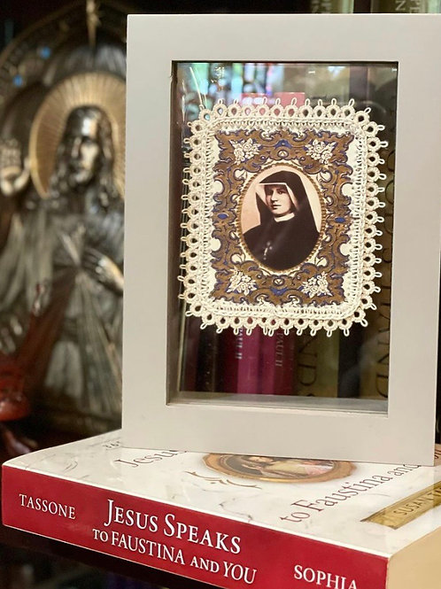 Saint Faustina fabric holy card detente