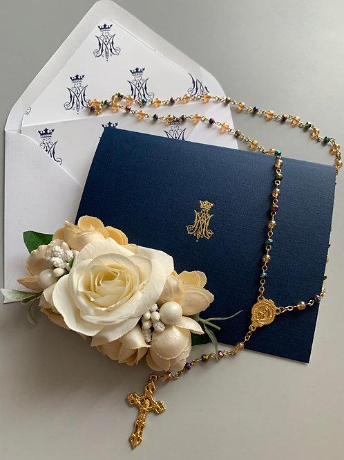 Auspice Maria Navy Linen Gold Foil Letterpress Cards