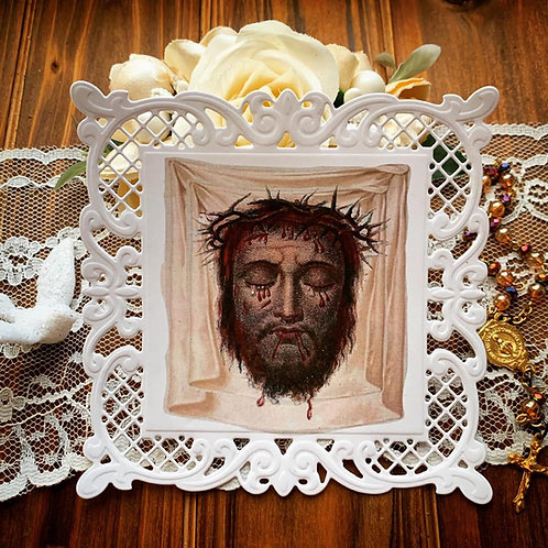 Holy Face Veil of Veronica Square Lace Holy Card