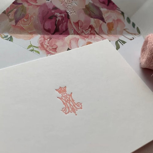 Marian Stationery Pink Letterpress Auspice Maria Card