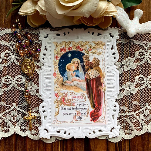 Christmas Wise Men paper lace holy card