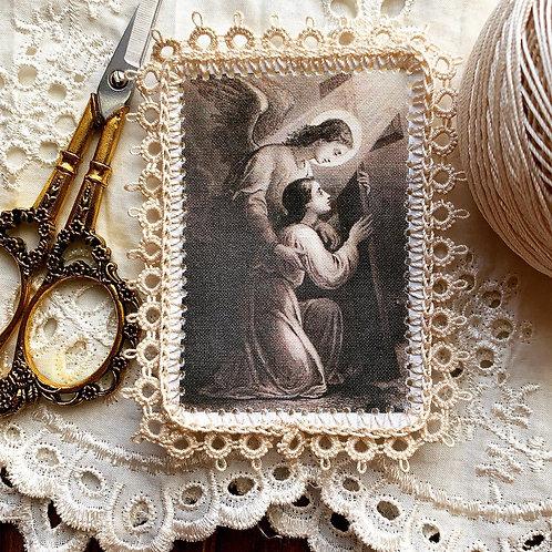 My Angel, My Simon fabric lace holy card