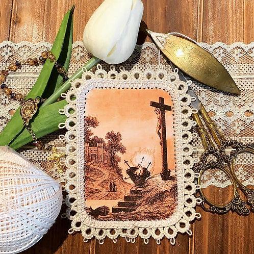 Sunset Castle Sacred Heart Dove fabric holy card detente