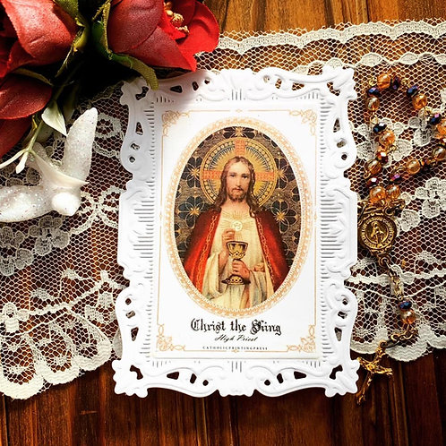 Christ The King Baroque Paper Lace Holy Card