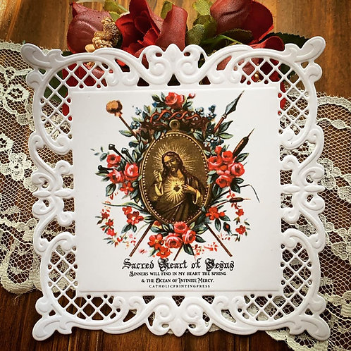Sacred Heart Square Lace Holy Card