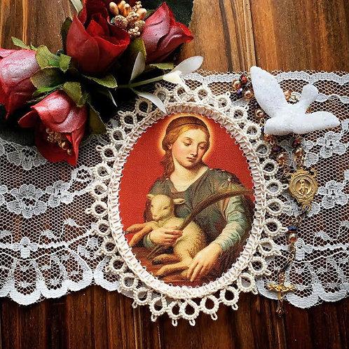 Saint Agnes Fabric Holy Card Detente