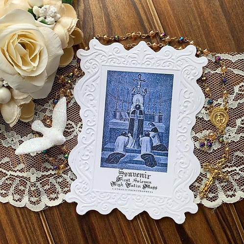 Souvenir First Latin Mass embossed paper lace holy card