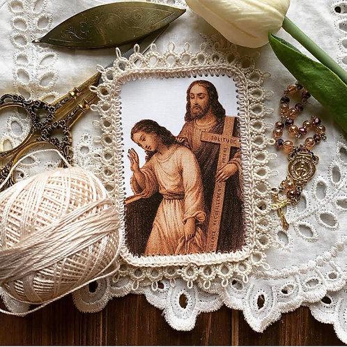 Cross of Solitude fabric holy card detente