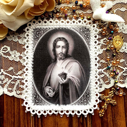 Behold This Heart fabric holy card detente