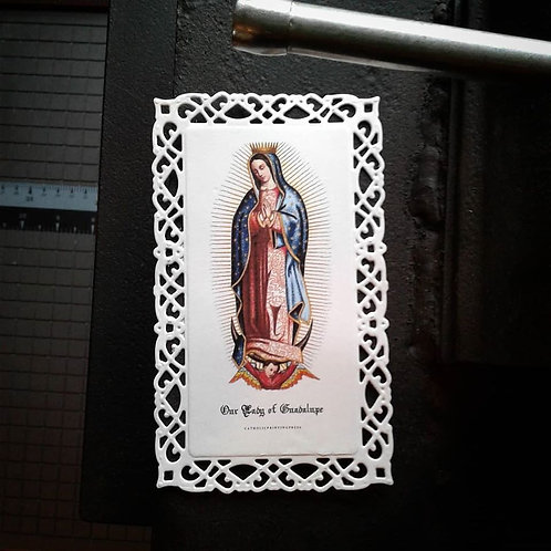 Our Lady of Guadalupe Tall Lace Holy Card