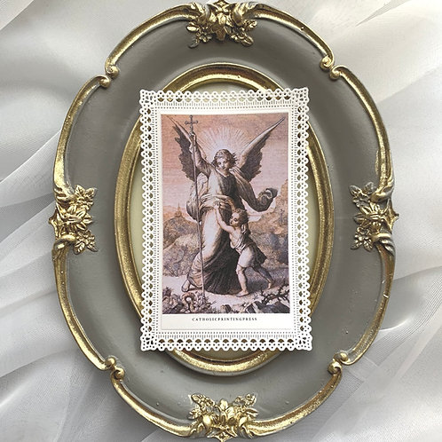Guardian Angel Vintage Scallop lace holy card