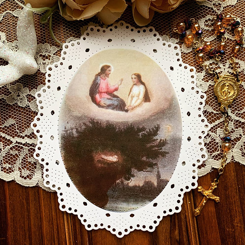 Hide away with me, My dove. Paper lace holy card