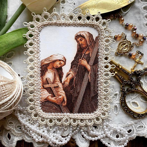 Cross of Humiliations Fabric Holy Card Detente