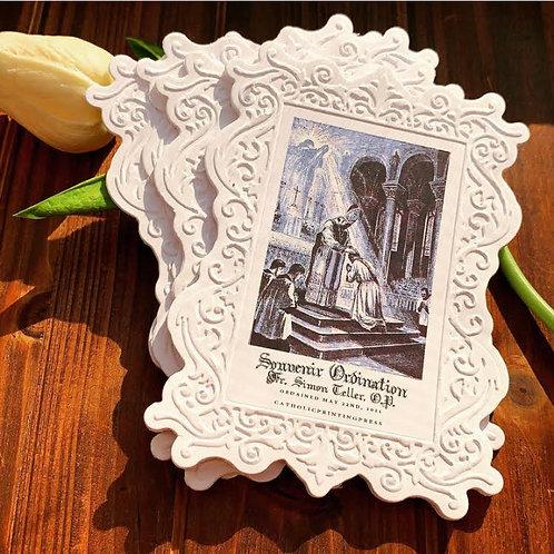 Custom Ordination flourish emboss cards