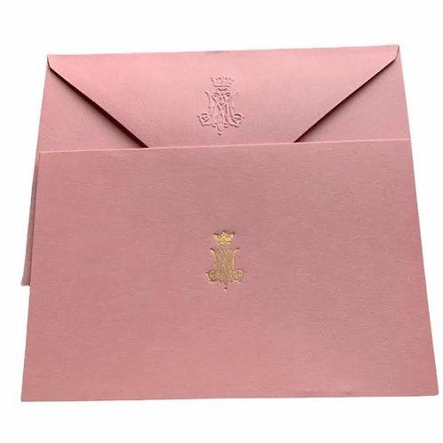 Pink Gold Foil Letterpress 4x6 Cards