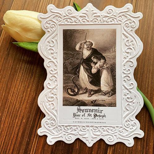 Souvenir Year St Joseph paper lace holy card