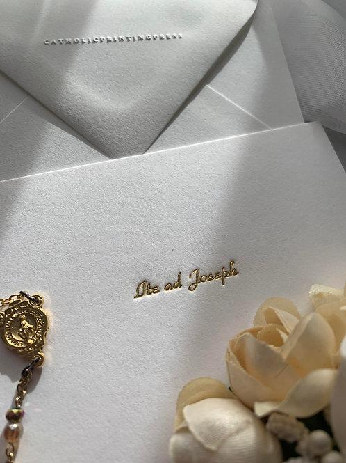 Ite ad Joseph Gold Foil Letterpress flat cards 4 bar