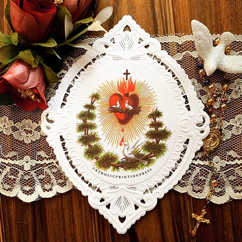 Pointed Oval Sacred Heart Bonsai deep embossed paper lace holy card