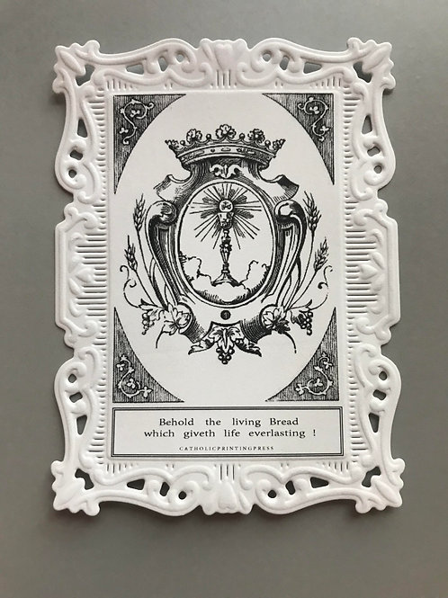 Behold The Bread Baroque Paper Lace Holy Card