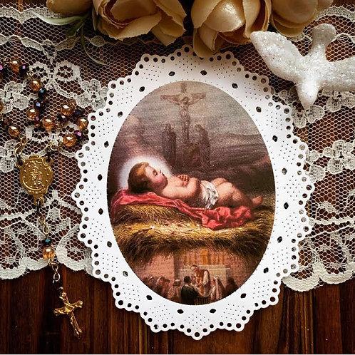 Nativity, Cross, Eucharist/Mass oval paper lace holy card