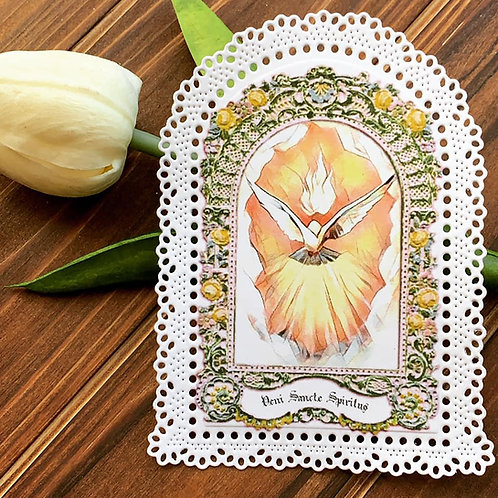 Holy Spirit Arched Paper Lace Holy Card