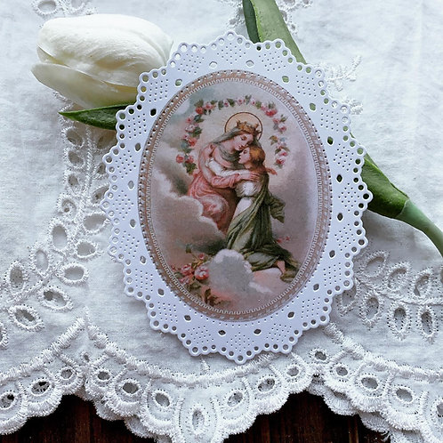Mother of the Rosary Embrace oval paper lace holy card