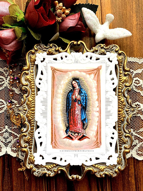 Lady of Guadalupe Tilma Paper lace holy card