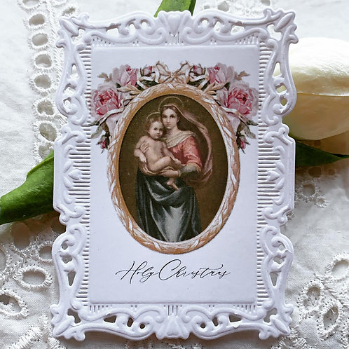 Holy Christmas paper lace holy card