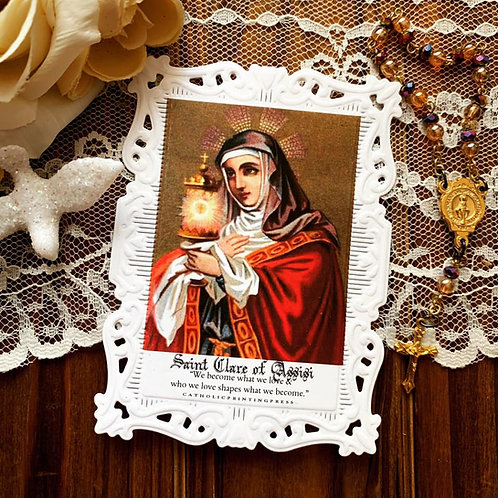 Saint Clare Baroque Paper Lace Holy Card