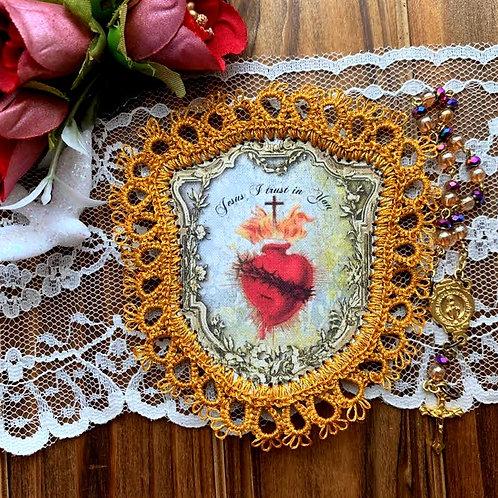 Sacred Heart Shield fabric holy card detentes