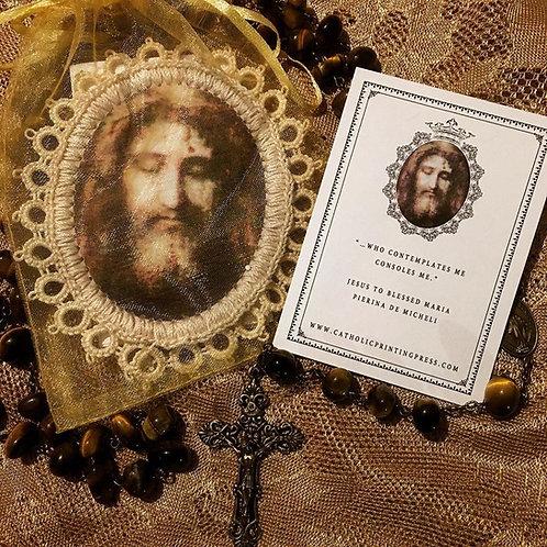 Holy Face Shroud Fabric Holy Card Detente