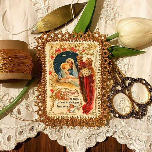 Christmas Wise Men fabric holy card detente