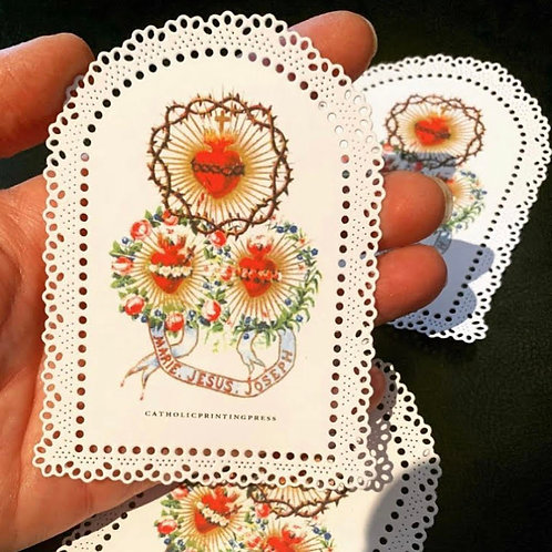 Holy Family bright arched paper lace holy card