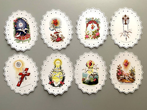 Assorted Oval Dove paper lace holy cards
