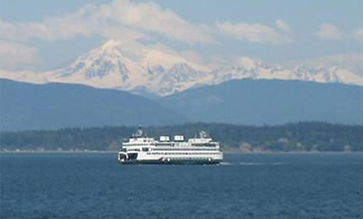 Puget Sound Ferry with mountains in the distance